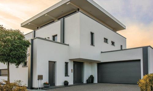 porte de garage enroulable maison cubique